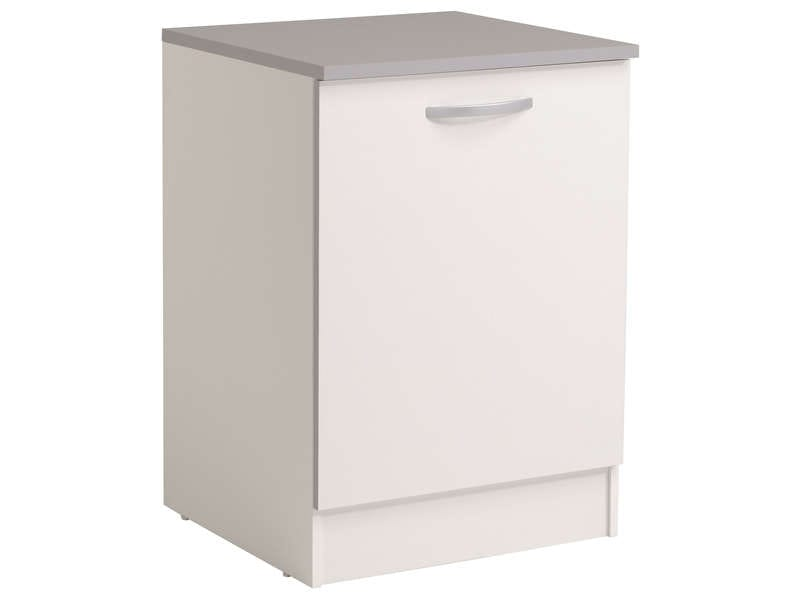 Meuble bas 60 cm 1 porte spoon coloris blanc vente de for Porte cuisine 40 60