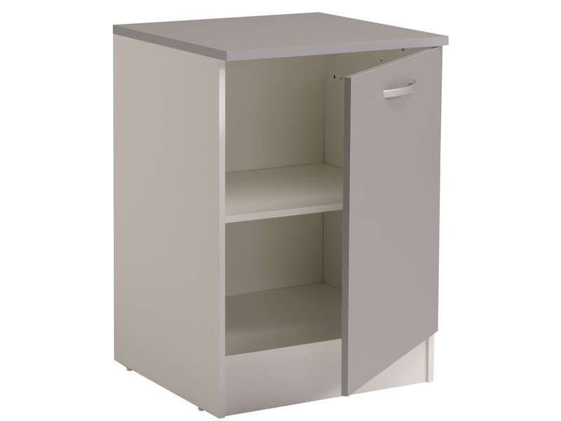Meuble bas 60 cm 1 porte spoon color coloris gris vente for Porte 60 x 60