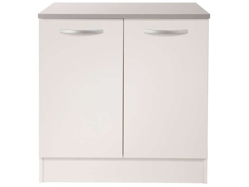 Meuble bas 80 cm 2 portes spoon coloris blanc vente de for Meuble 2 porte conforama