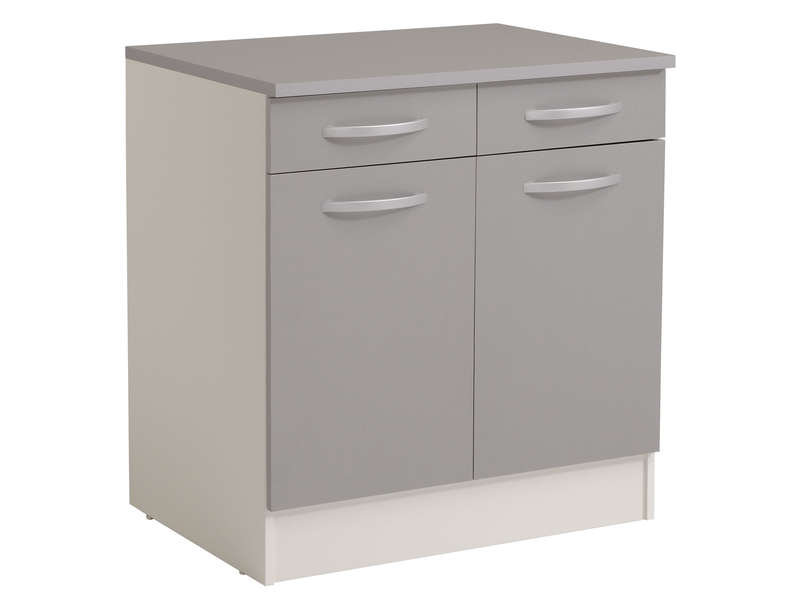 Charmant Meuble Bas 80 Cm 2 Portes + 2 Tiroirs SPOON COLOR Coloris Gris - Vente De Meuble  Bas - Conforama