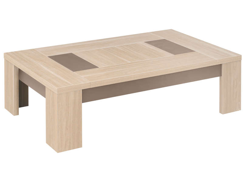 Table basse rectangulaire atlanta coloris ch ne clair for Meuble 120x60