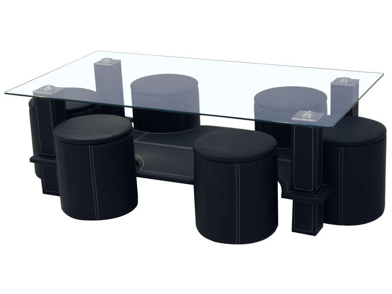 table basse 6 poufs sixty coloris noir vente de table. Black Bedroom Furniture Sets. Home Design Ideas