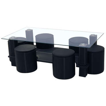 Table basse + 6 poufs