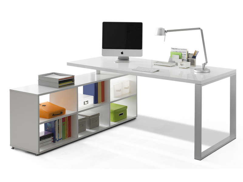bureau 180 cm retour trevi coloris blanc vente de bureau conforama. Black Bedroom Furniture Sets. Home Design Ideas