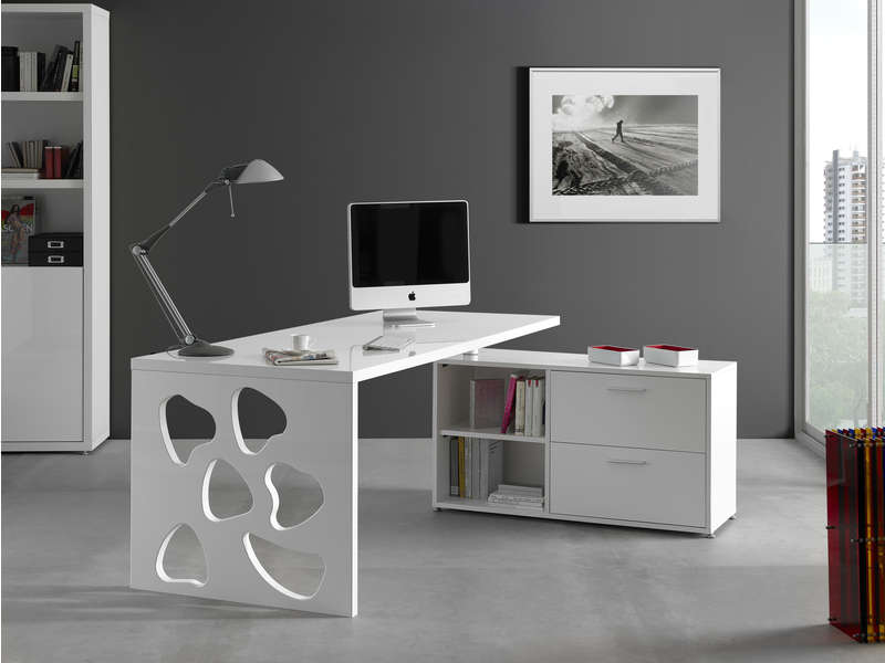 bureau 160 cm retour trevi coloris blanc vente de bureau conforama. Black Bedroom Furniture Sets. Home Design Ideas