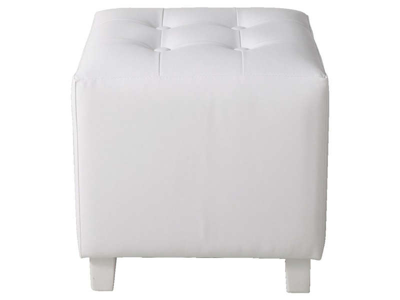 pouf louis coloris blanc vente de pouf conforama. Black Bedroom Furniture Sets. Home Design Ideas