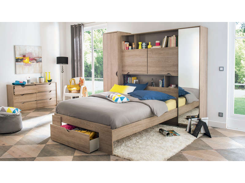 lit 140 cm tiroir vision coloris ch ne li ge vente de. Black Bedroom Furniture Sets. Home Design Ideas