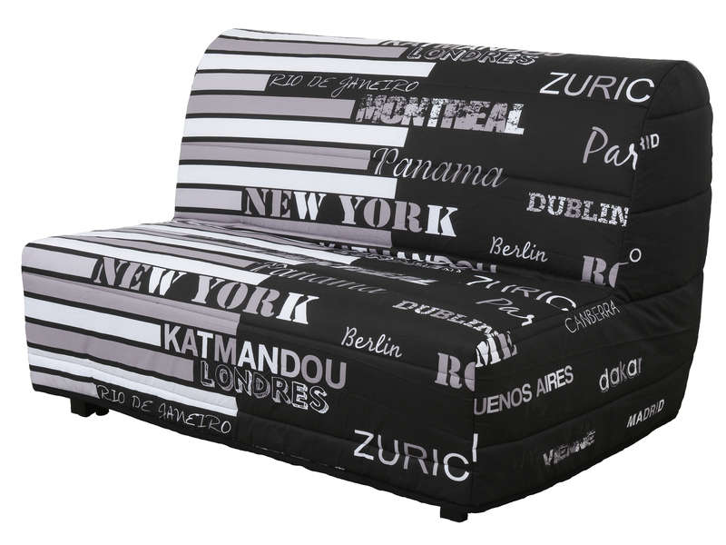 banquette lit bz monica coloris noir blanc vente de. Black Bedroom Furniture Sets. Home Design Ideas