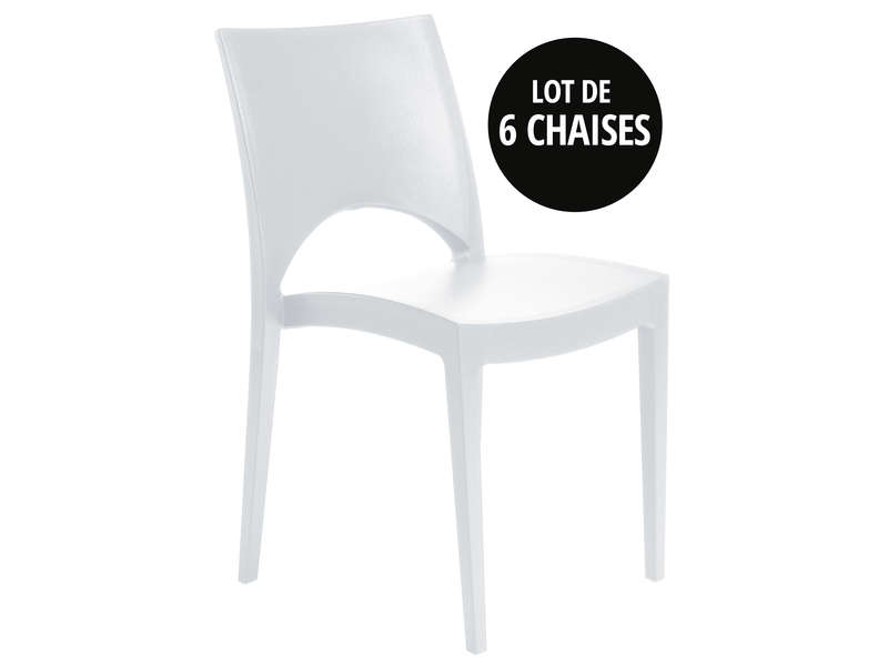 Lot de 6 chaises de jardin empilables oporto coloris blanc vente de chaise conforama - Lot de 6 chaises scandinaves ...
