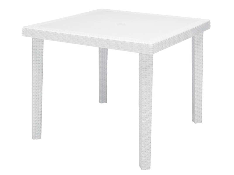 Table de jardin carr e 90x90 cm boheme coloris blanc - Table de salon pas chere ...