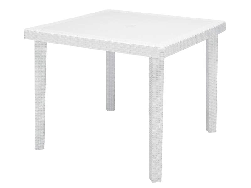 Table de jardin carr e 90x90 cm boheme coloris blanc vente de table de cuisine conforama for Petite table bar pas cher