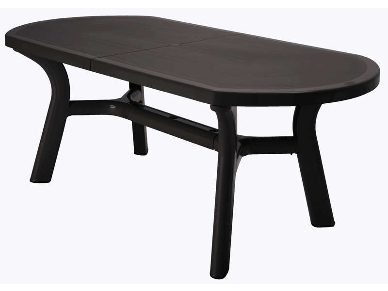 Table de jardin ovale 90x180 cm pagoda coloris anthracite for Salon de jardin blanc carrefour