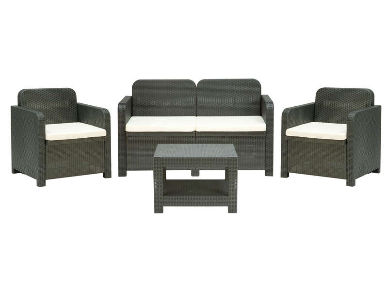 Salon de jardin canap 2 places 2 fauteuils table basse sorrento coloris gris vente de - Canape de salon de jardin ...
