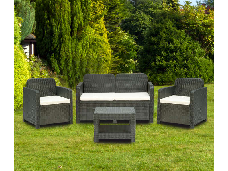 salon de jardin canap 2 places 2 fauteuils table basse sorrento coloris gris vente de salon de jardin conforama - Salon Exterieur