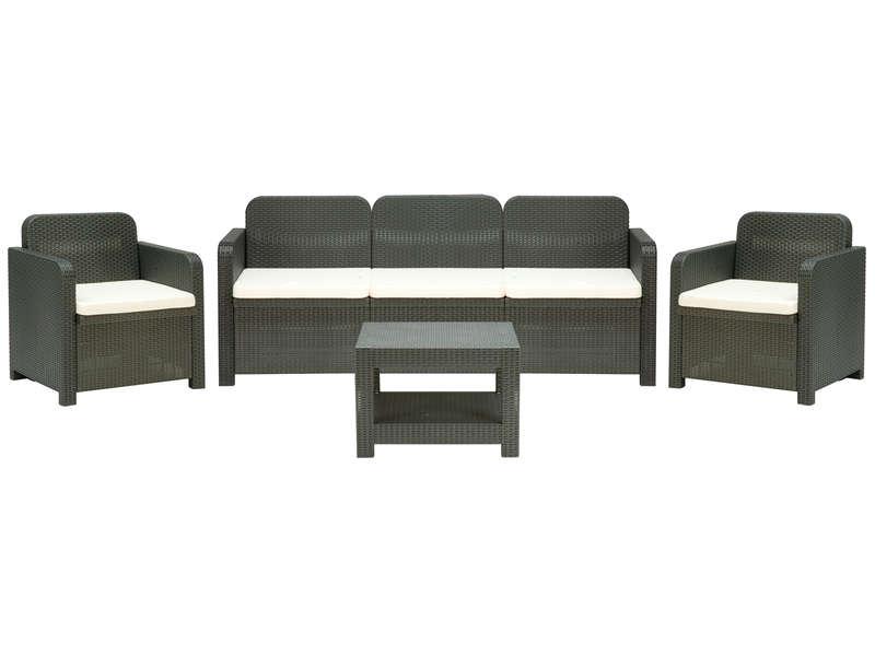 Salon de jardin: canapé 3 places + 2 fauteuils + table basse POSITANO coloris gris