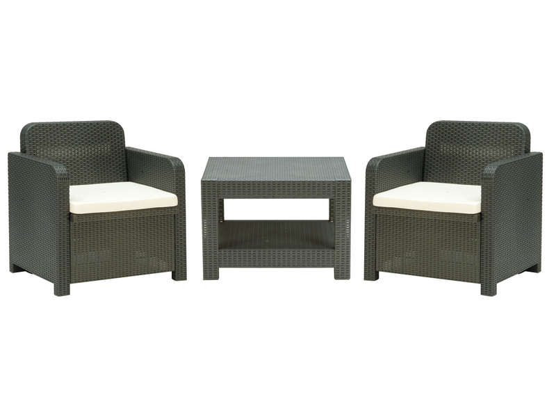 salon de jardin 2 fauteuils 1 table basse giglio coloris gris vente de salon de jardin. Black Bedroom Furniture Sets. Home Design Ideas