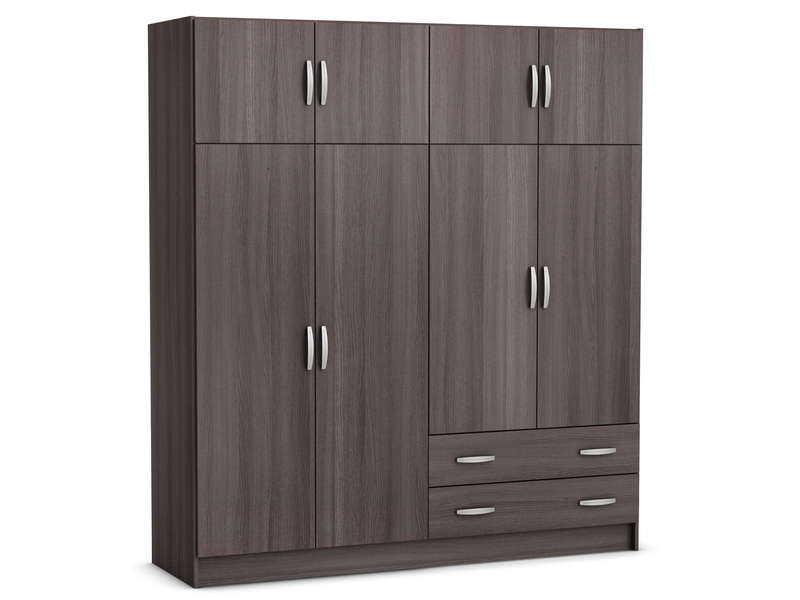 armoire 8 portes 2 tiroirs top 2 coloris ch ne vulcano. Black Bedroom Furniture Sets. Home Design Ideas