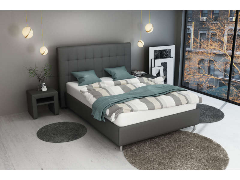 lit 140 x 190 cm capri coloris gris vente de lit adulte conforama. Black Bedroom Furniture Sets. Home Design Ideas