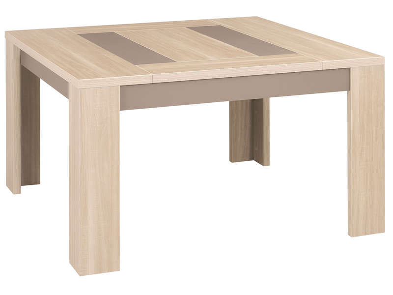 Table carr e 130 cm atlanta coloris ch ne clair vente de for Table de sejour carree