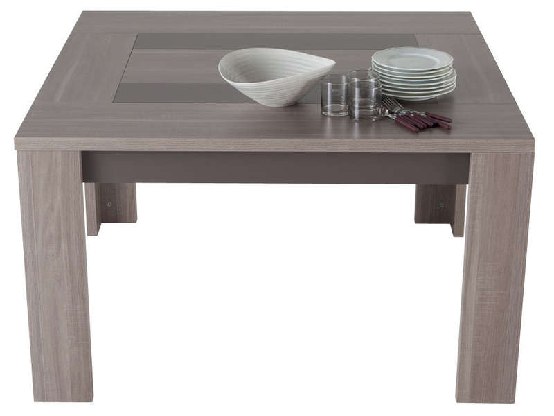 Table carr e 130 cm atlanta coloris ch ne clair vente de for Table de salle a manger carree avec rallonge