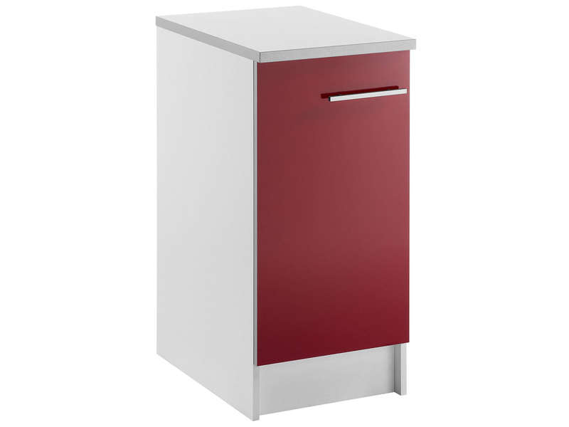 Meuble bas 40 cm 1 porte spoon shiny rouge vente de for Meuble bureau largeur 40 cm