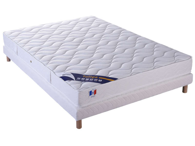 matelas mousse sommier 140x190 cm volupnight tulipe. Black Bedroom Furniture Sets. Home Design Ideas