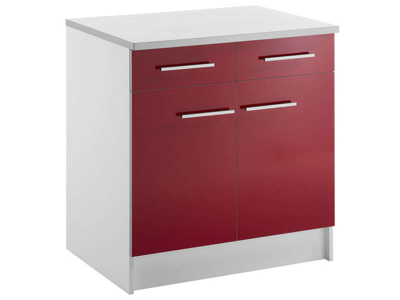 meuble bas 80 cm 2 tiroirs 2 portes spoon shiny rouge vente de meuble bas conforama