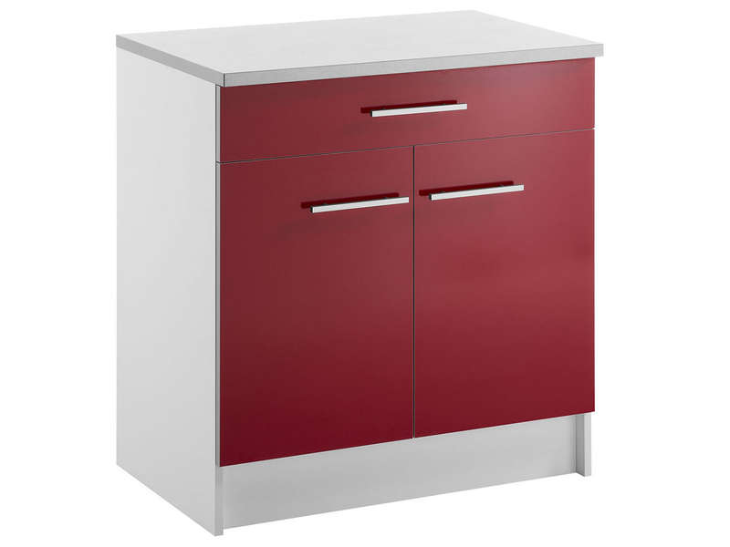 Meuble bas 80 cm 1 tiroir 2 portes spoon shiny rouge for Element bas salle de bain