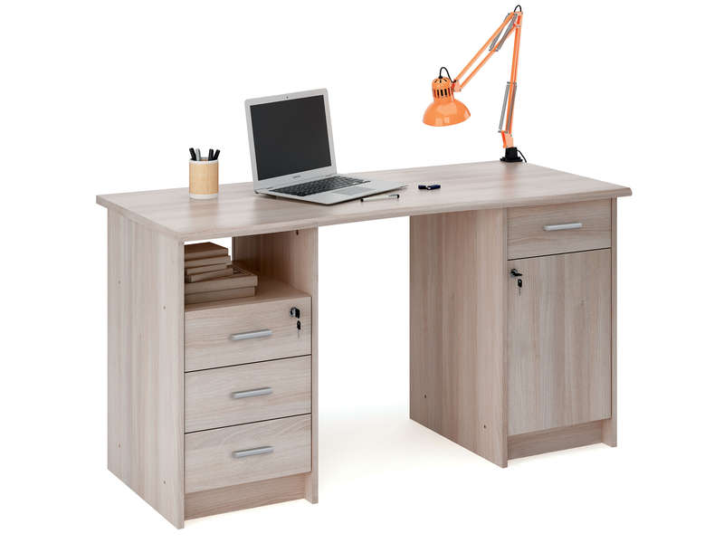 bureau 135 cm monaco coloris ch ne shannon vente de bureau conforama. Black Bedroom Furniture Sets. Home Design Ideas