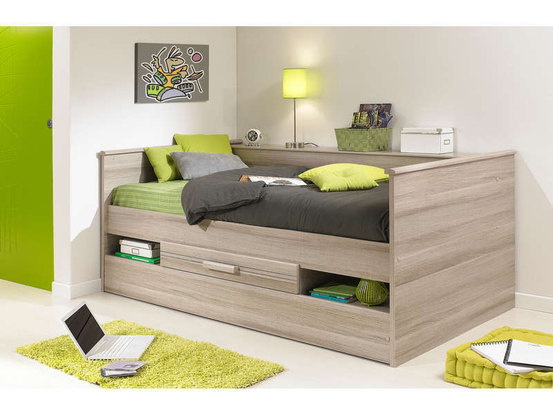 lit gigogne 90x190 cm ch ne montana coloris ch ne gris vente de lit enfant conforama. Black Bedroom Furniture Sets. Home Design Ideas