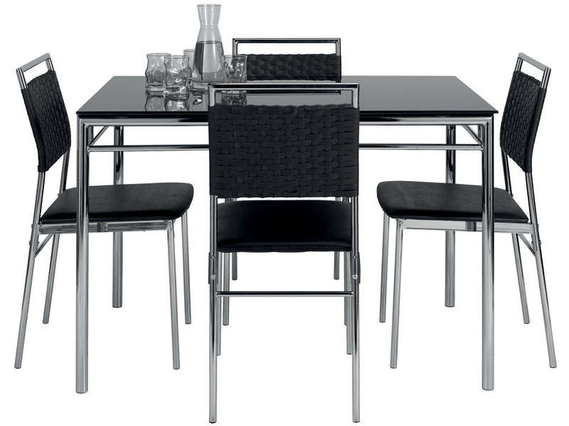 Ensemble table et de 4 chaises jade coloris noir vente de ensemble table et chaise conforama - Ensemble chaise et table ...