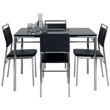 Ensemble table et de 4 chaises jade coloris noir vente for Table de jardin conforama