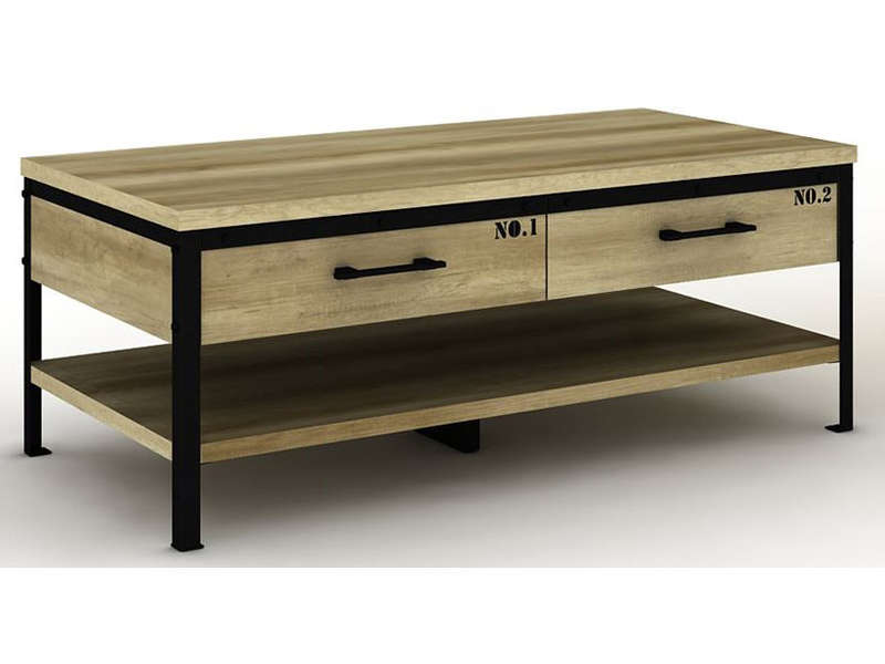 Table basse arty bicolore vente de table basse conforama for Table de salon style industriel