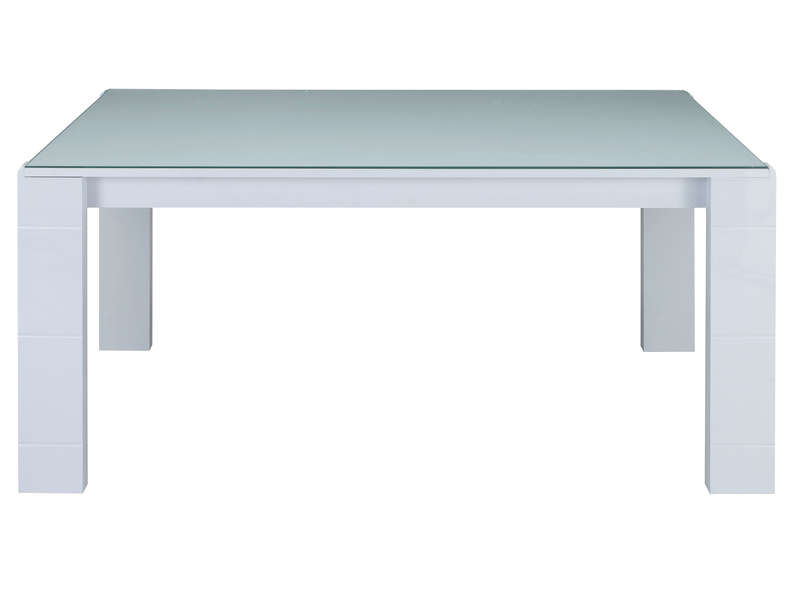 Table rectangulaire 160 cm bel air coloris blanc laqu for Table de cuisine rectangulaire