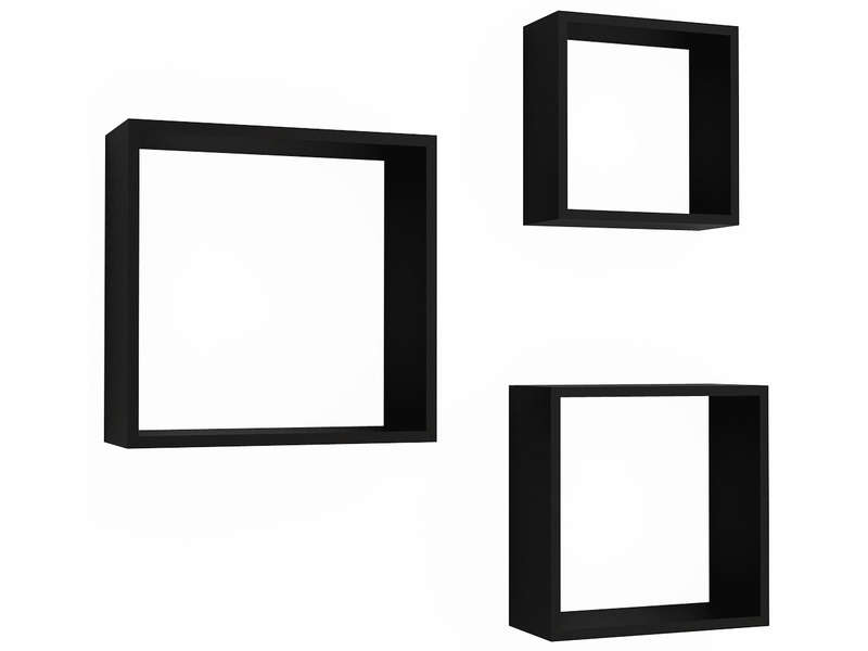Set de 3 tag res murales care 3 coloris noir vente de - Conforama etagere cube ...