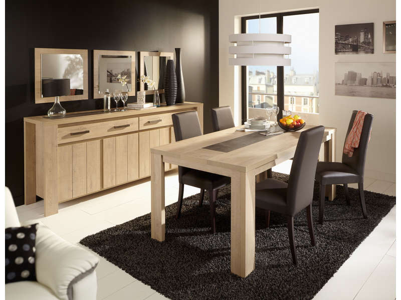Table Rectangulaire 180 Cm Brest Nature Coloris Chene Clair Vente