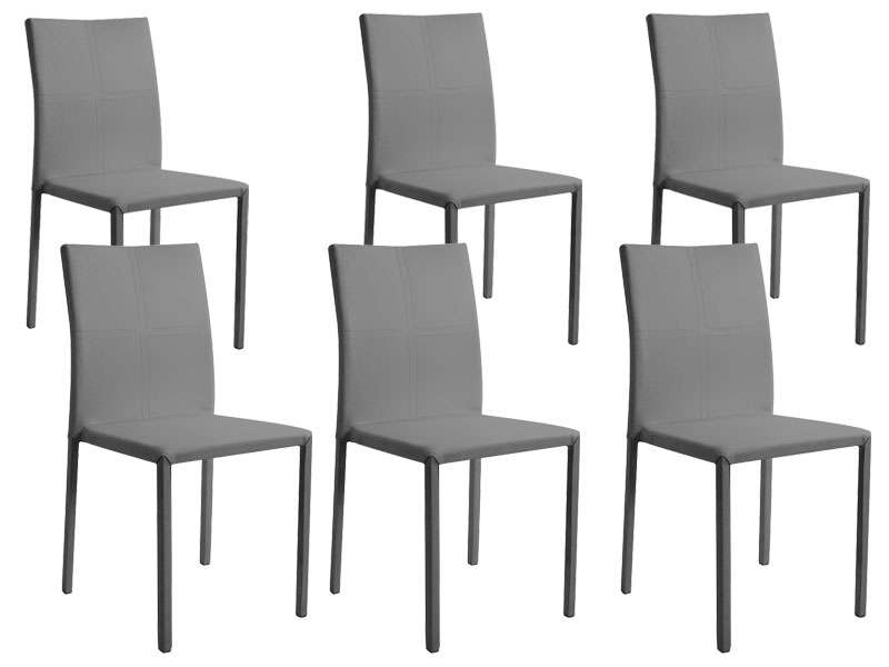 Lot de 6 chaises atia coloris gris for Lot de 6 chaises grises