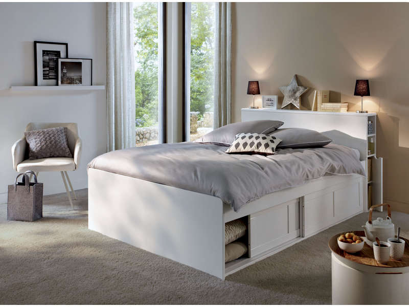 Lit adulte 140x190 cm belem coloris blanc vente de lit for Chambre adulte alinea