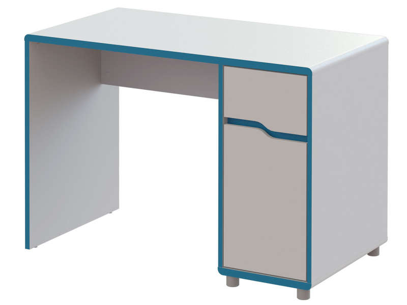 bureau moby coloris blanc et bleu vente de bureau. Black Bedroom Furniture Sets. Home Design Ideas