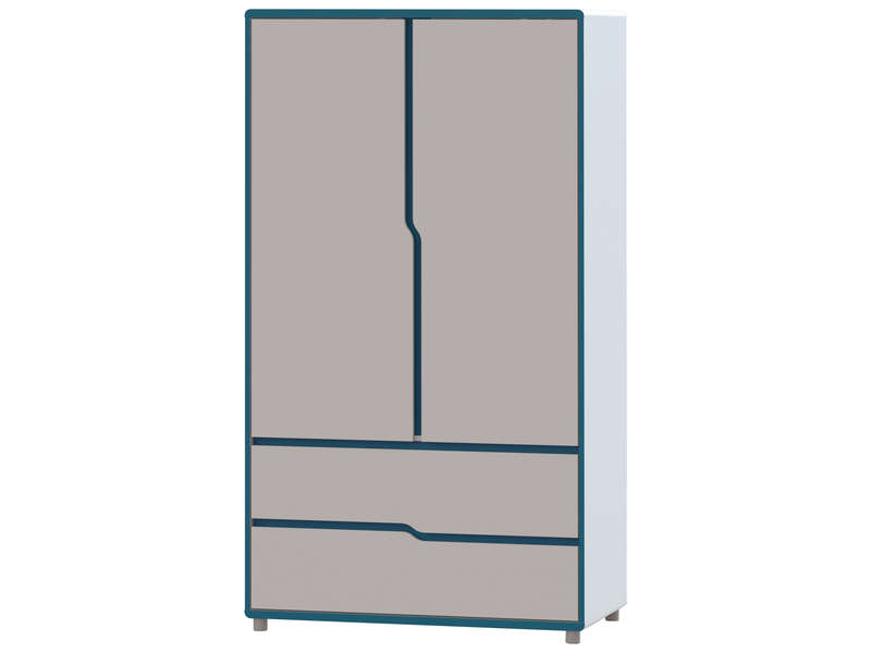 armoire enfant moby coloris blanc et bleu vente de. Black Bedroom Furniture Sets. Home Design Ideas