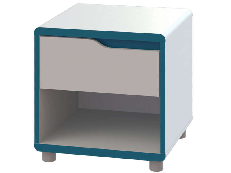 chevet moby coloris blanc et bleu vente de chevet. Black Bedroom Furniture Sets. Home Design Ideas