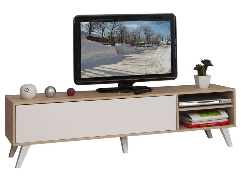 meuble tv prism coloris ch ne naturel blanc vente de meuble tv conforama. Black Bedroom Furniture Sets. Home Design Ideas