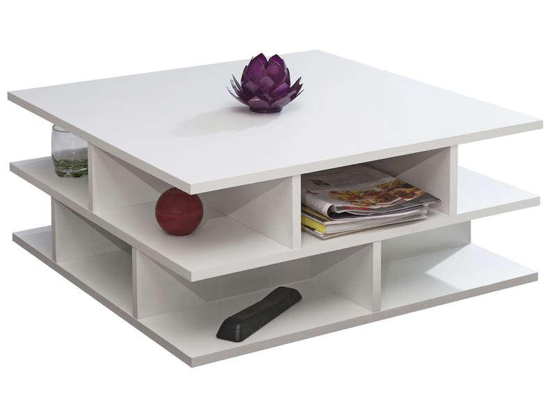 Table basse carrée 70 cm MULTI coloris blanc