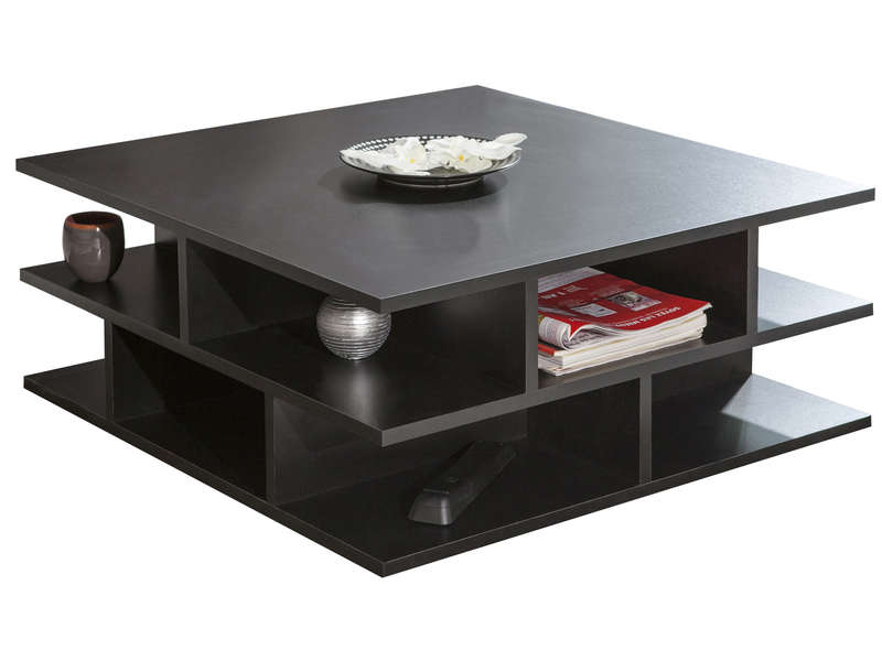 Table basse carr e 70 cm multi coloris noir vente de for Table basse carree avec rangement