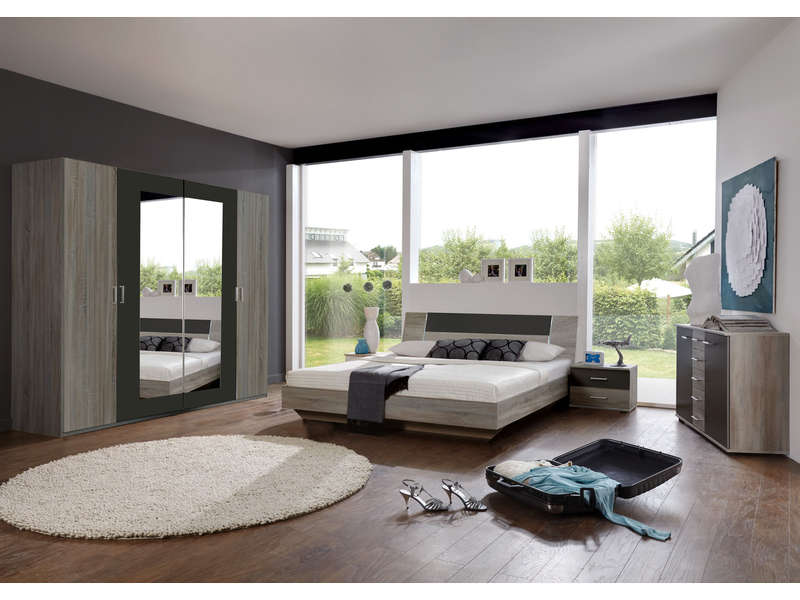 chambre compl te ginny coloris ch ne montana et lave. Black Bedroom Furniture Sets. Home Design Ideas