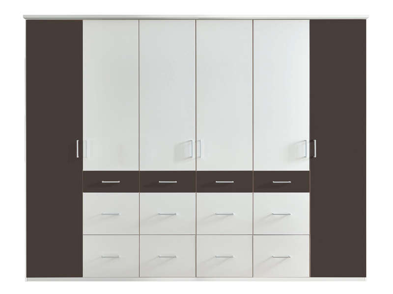 armoire 6 portes 12 tiroirs smart coloris blanc noir chez. Black Bedroom Furniture Sets. Home Design Ideas