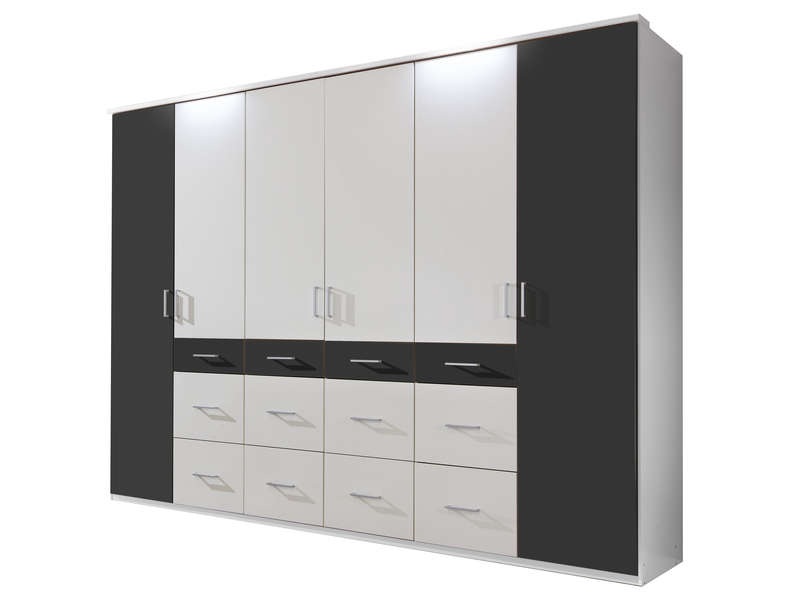 armoire 6 portes 12 tiroirs smart coloris blanc noir. Black Bedroom Furniture Sets. Home Design Ideas