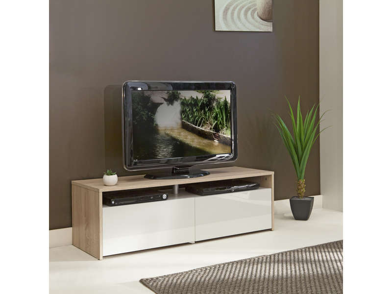 Conforama banc tv blanc sammlung von design for Meuble tv wave
