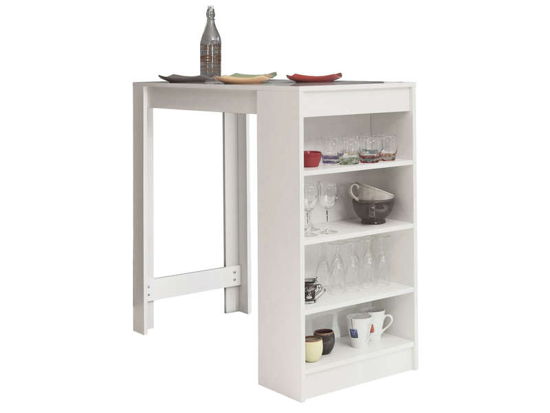 Table bar avec rangement coloris blanc vente de table de for Bar cuisine angle