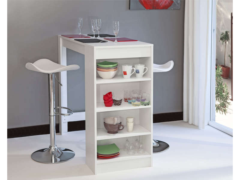 table bar 115 x 50 cm rangement rey coloris blanc vente de table de cuisine conforama. Black Bedroom Furniture Sets. Home Design Ideas